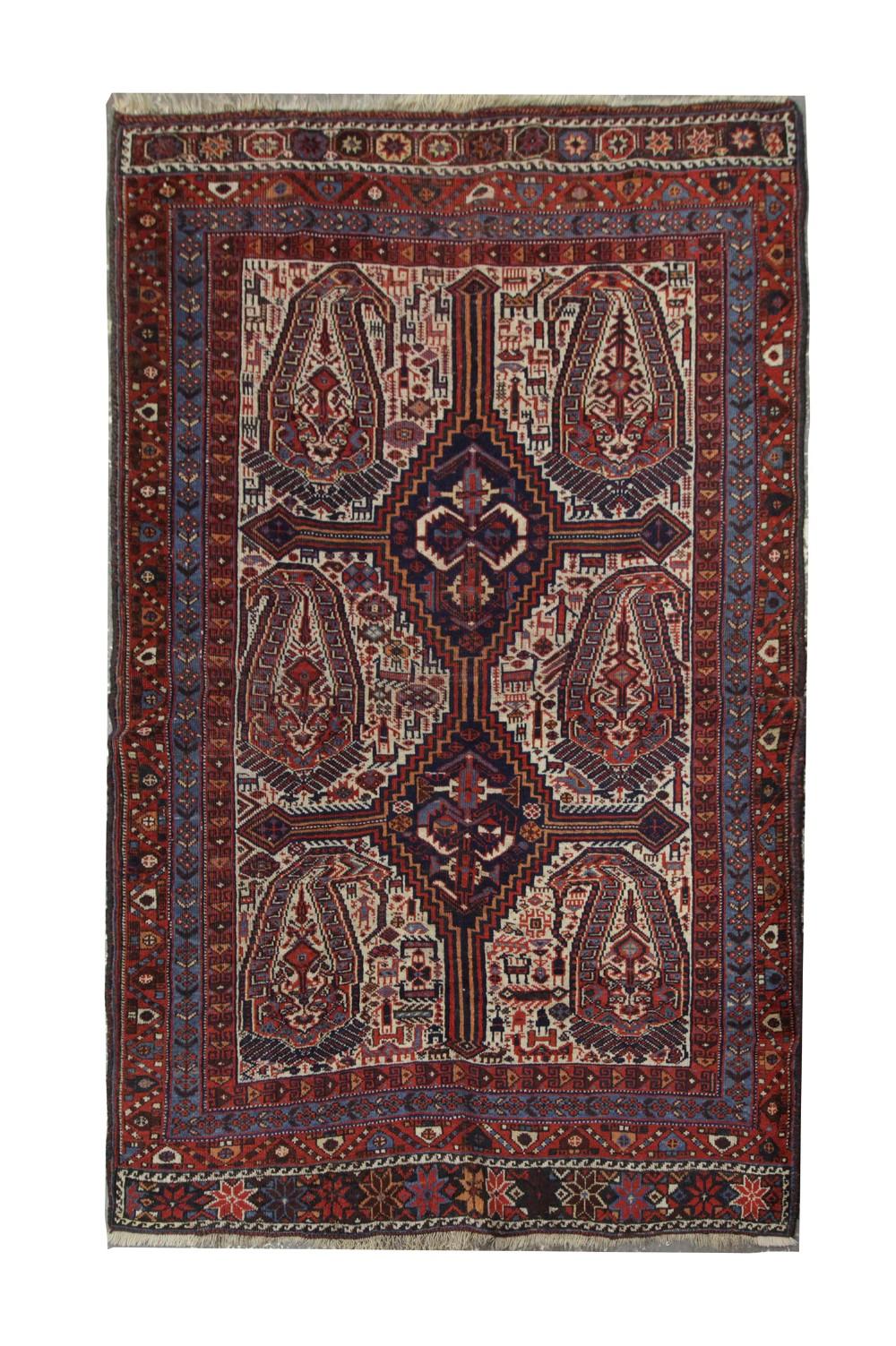 antique persian qashqai wool rug 115x160cm