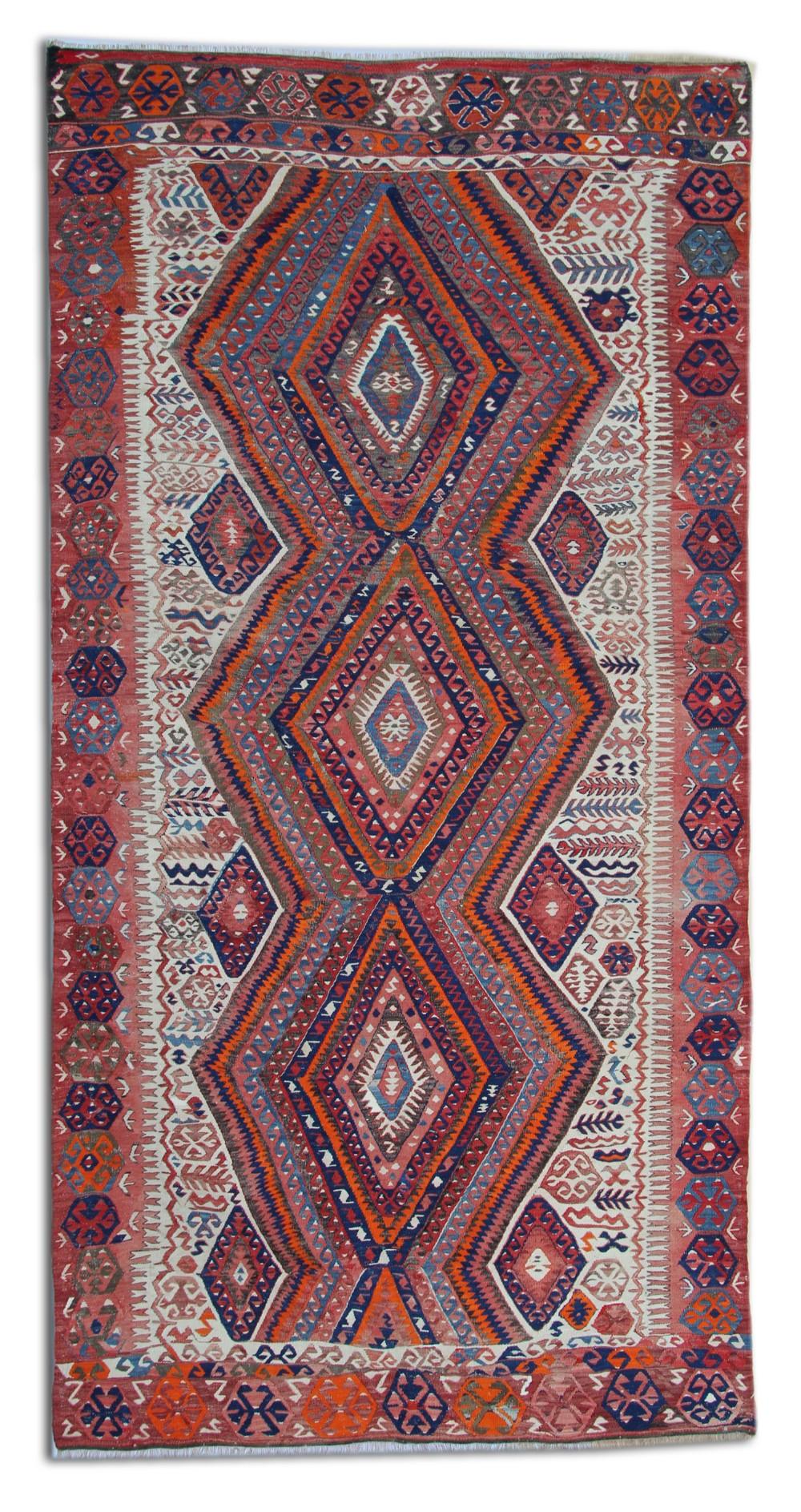 antique kilim rug traditional carpet anatolian turkish handmade wool kelim 151x300cm