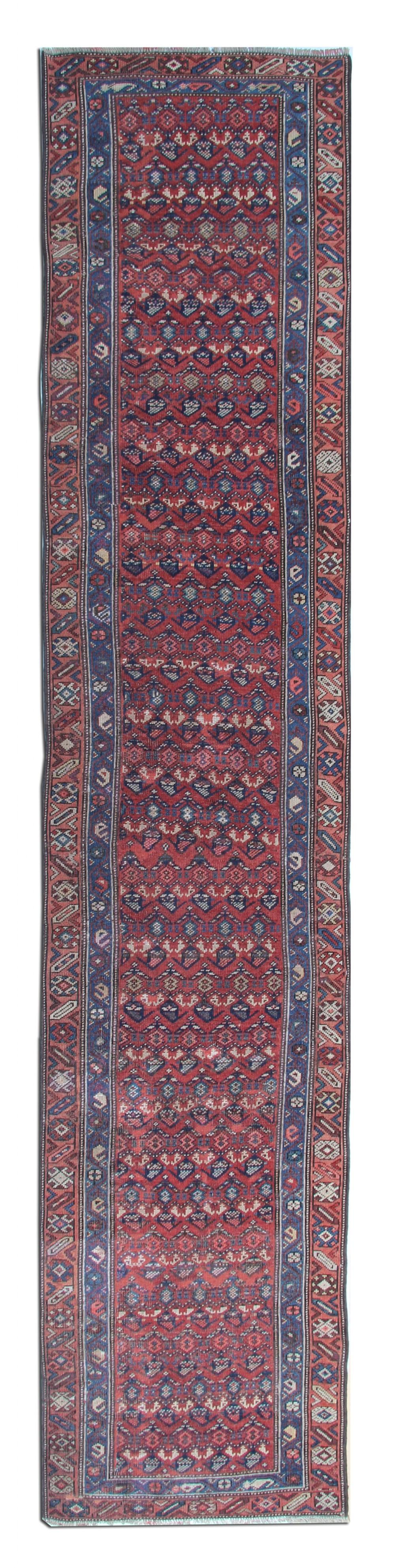 long handmade antique persian malayer runner rug 82x410cm