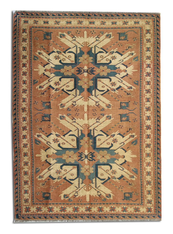 antique soumakh rug handwoven cream wool afghan carpet 140x139cm