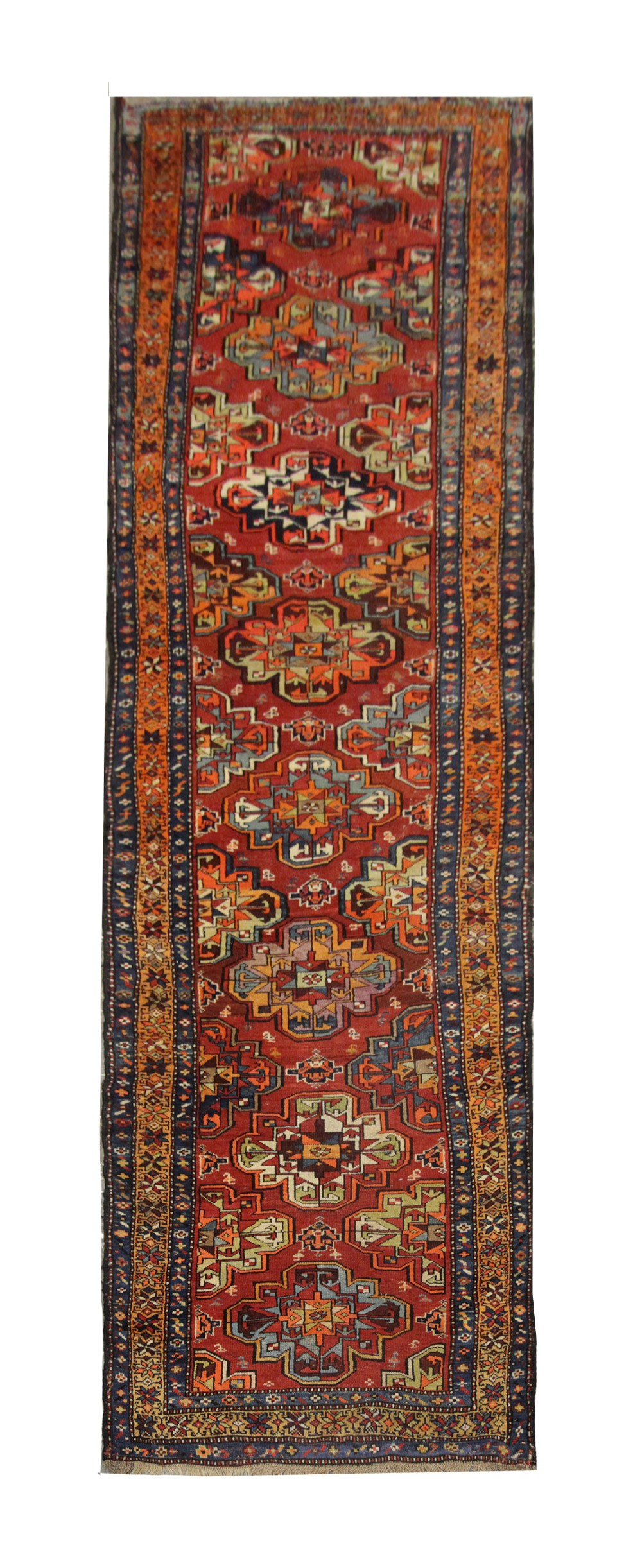 long antique handmade oriental wool turkmen runner rug 106x383cm