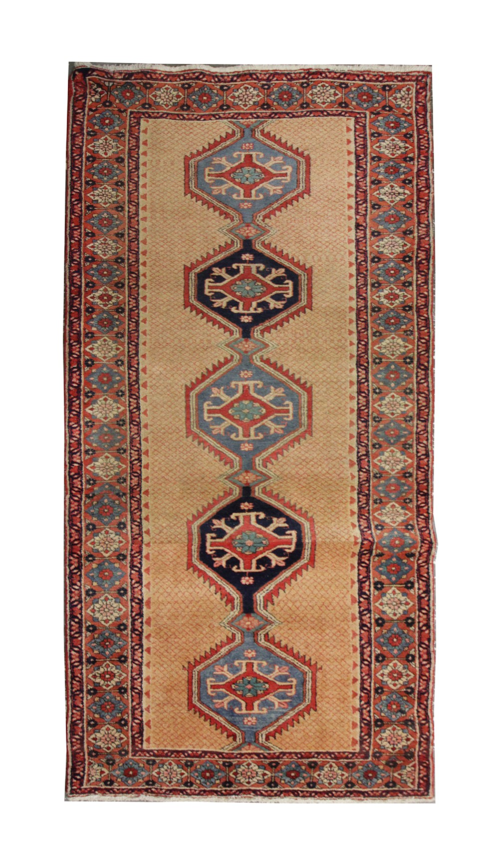 handwoven cream persian runner rug long oriental carpet rug 106x247cm