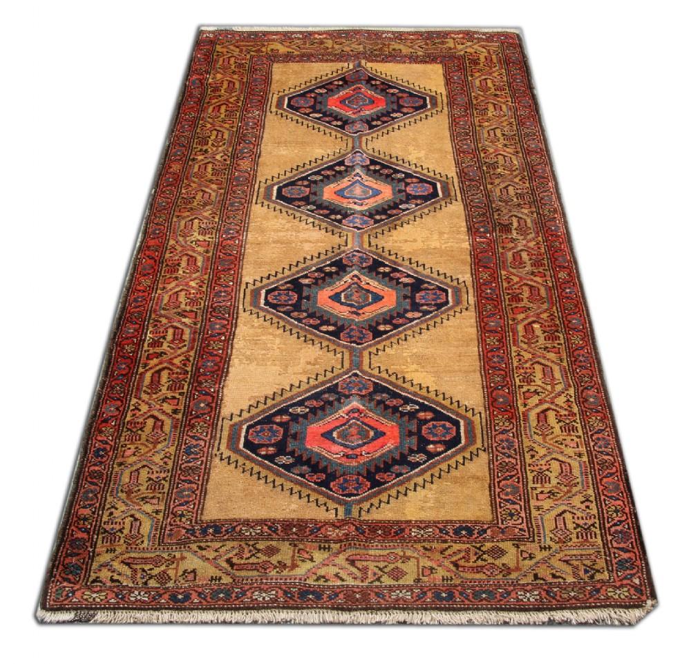 handmade carpet gold geometric antique hamedan persian rug 104 x 207 cm