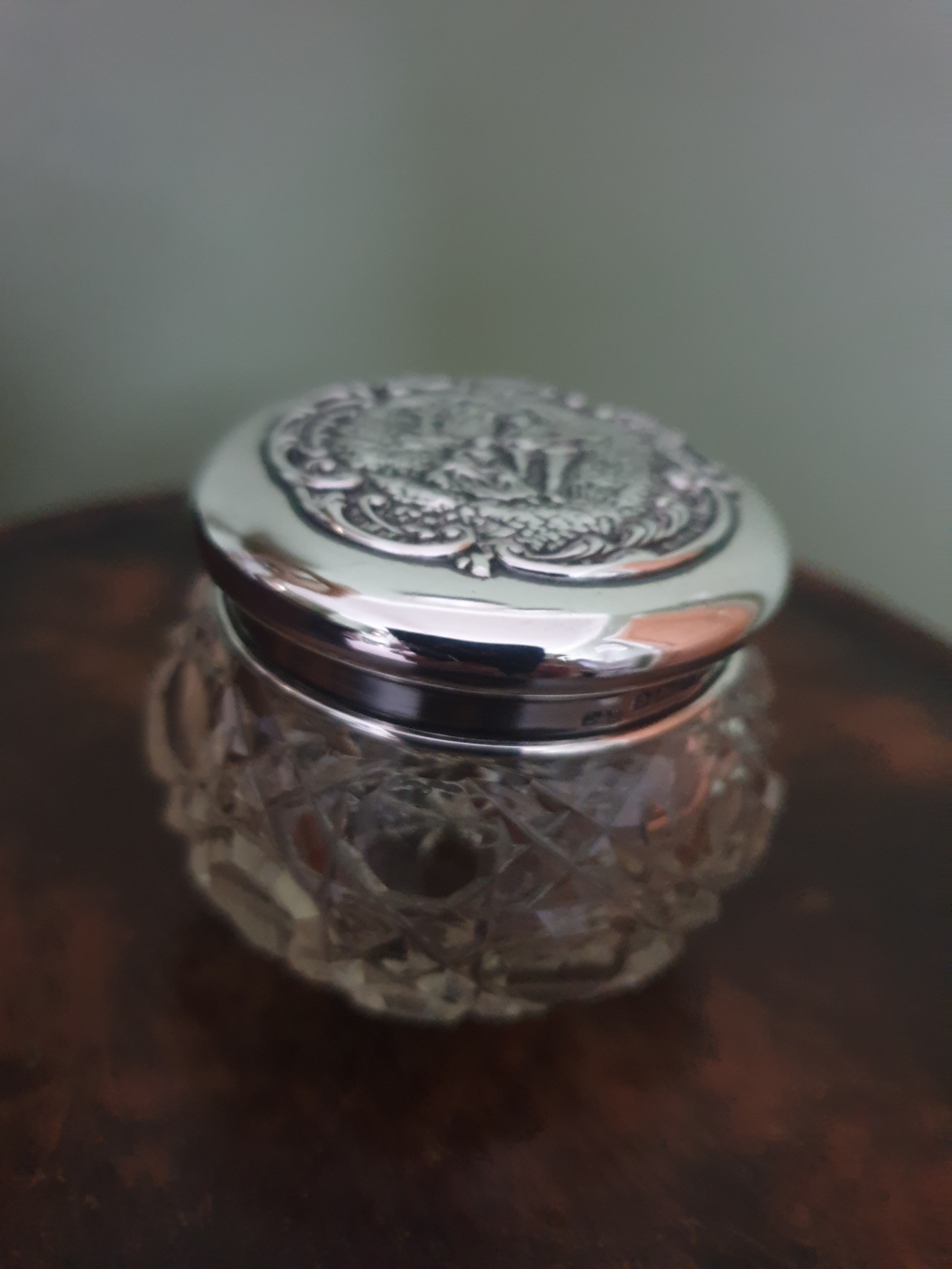 sterling silver topped ladies dressing table pot hallmarked birmingham 1915