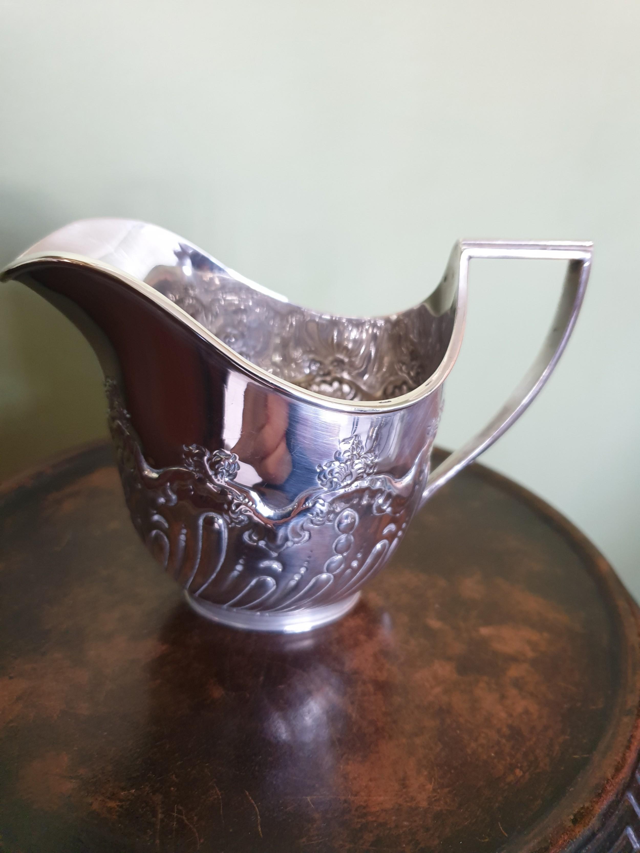 silver edwardian embossed jug hallmarked sheffield 1902