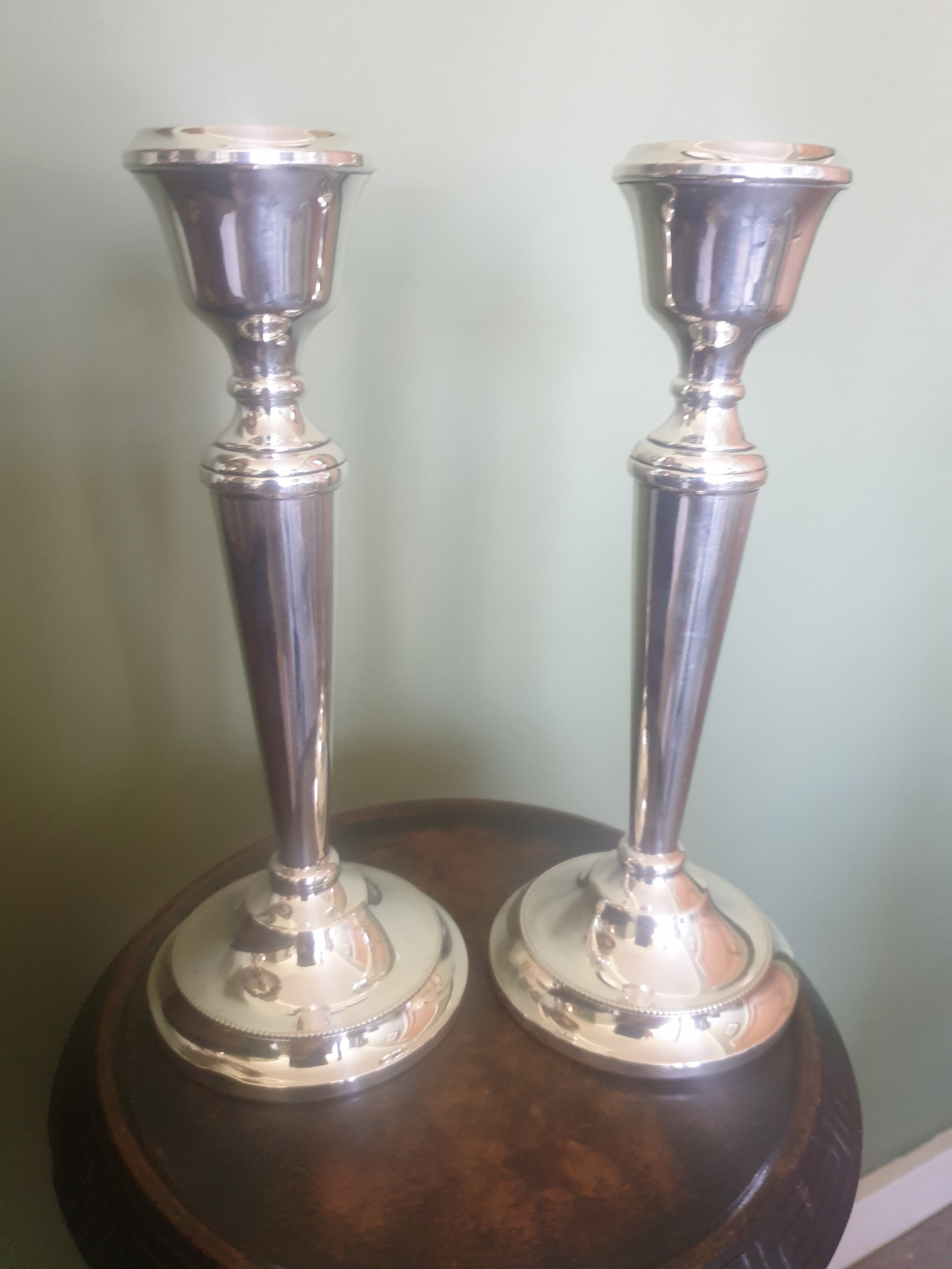 pair 20th century silver candlesticks 23cms in height