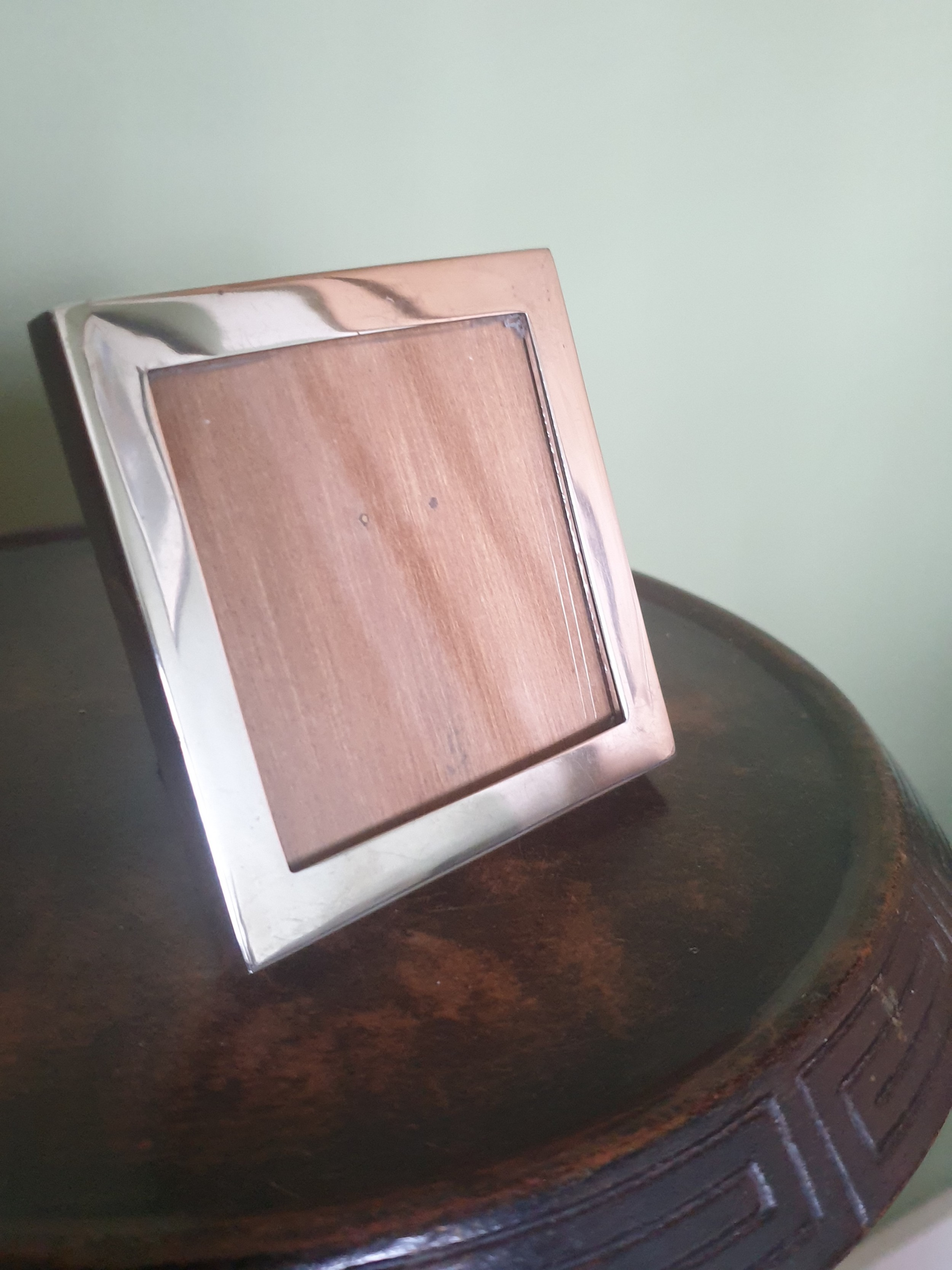 sterling silver photograph frame with oak back