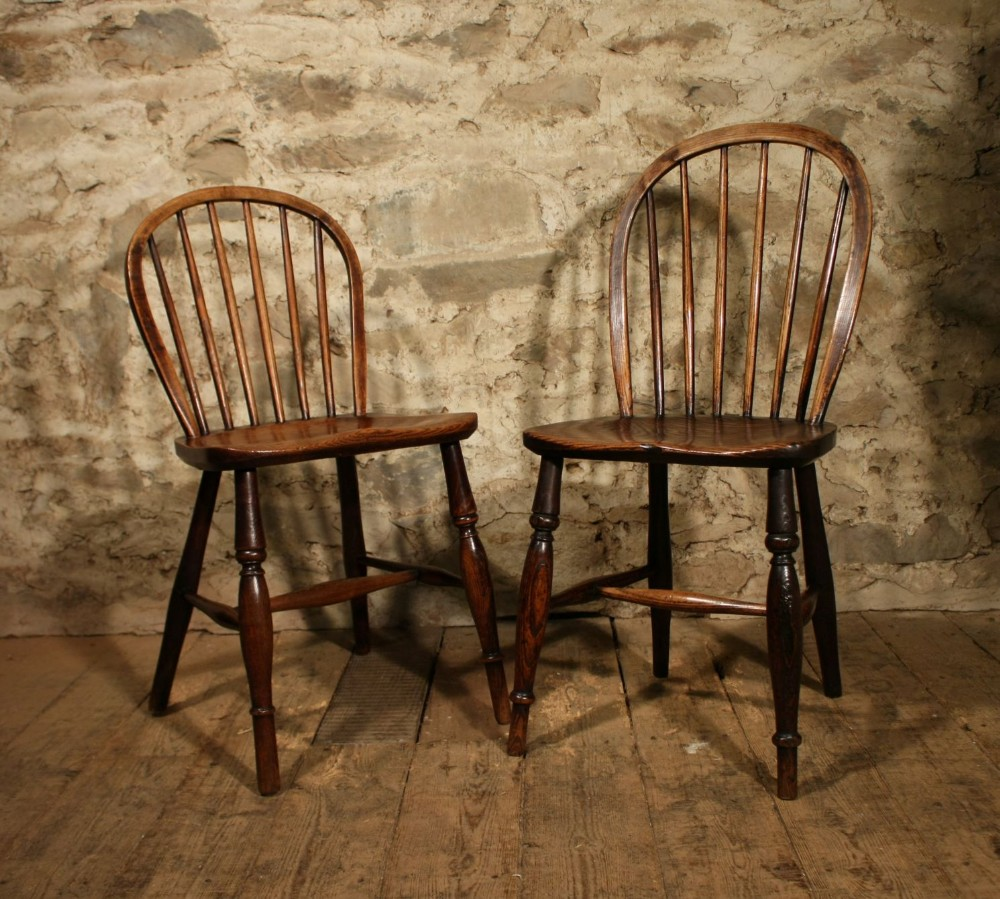 2 stick back windsor side chairs