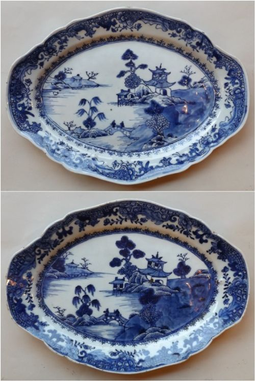 superb pair chinese export porcelain serving dishes qianlong period