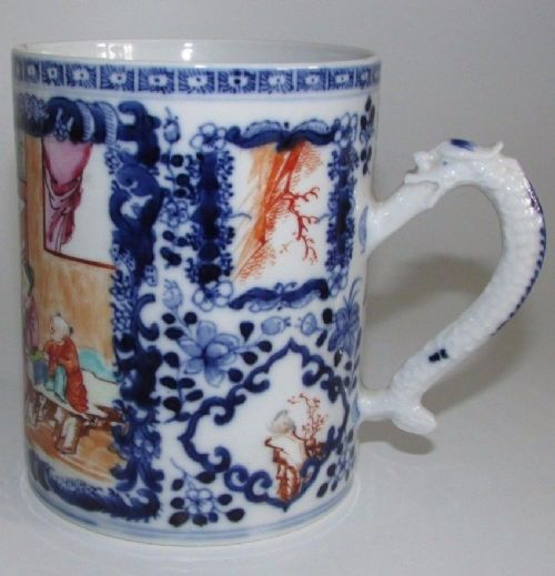 chinese porcelain famille rose blue and white tankard 18thct