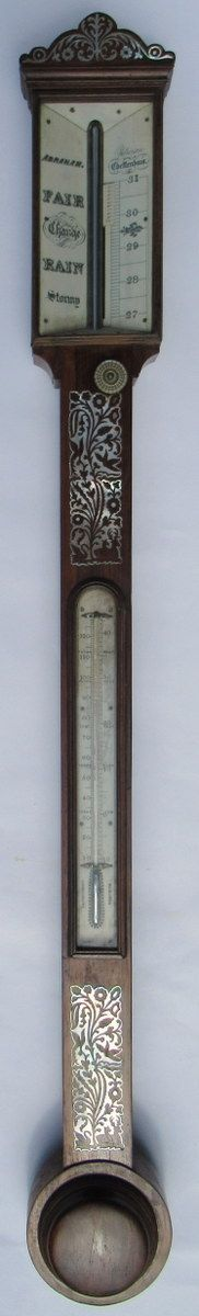 superb rosewood stick barometer abraham cheltenhan early 19thct