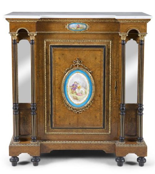 superb french walnut side cabinet marble top sevres porcelain plaques 19thct