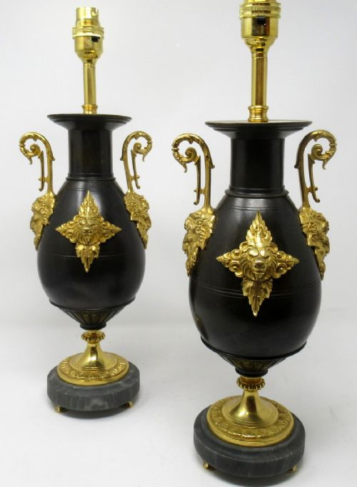 pair french bronze ormolu electric table lamps bacchus god of wine 19thct