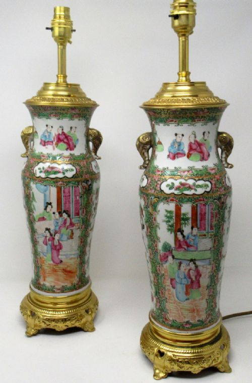 fine pair large cantonese chinese hand painted porcelain ormolu table lamps 19thct