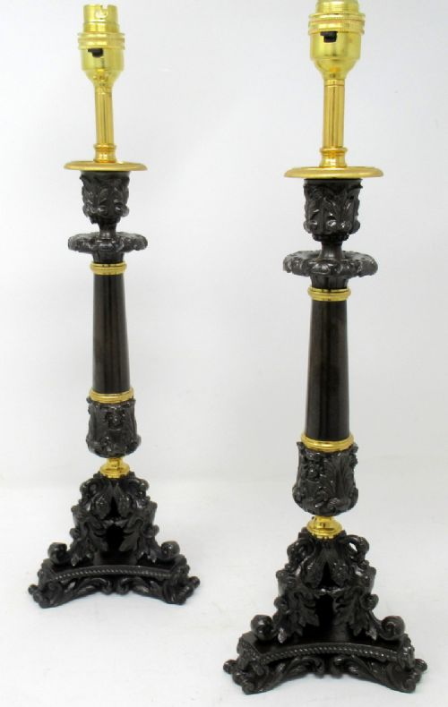 fine pair french patinated bronze and ormolu table lamps mid 19th ct
