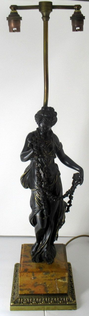 superb dark patinated french classical female bronze table lamp sienna marble 19thct