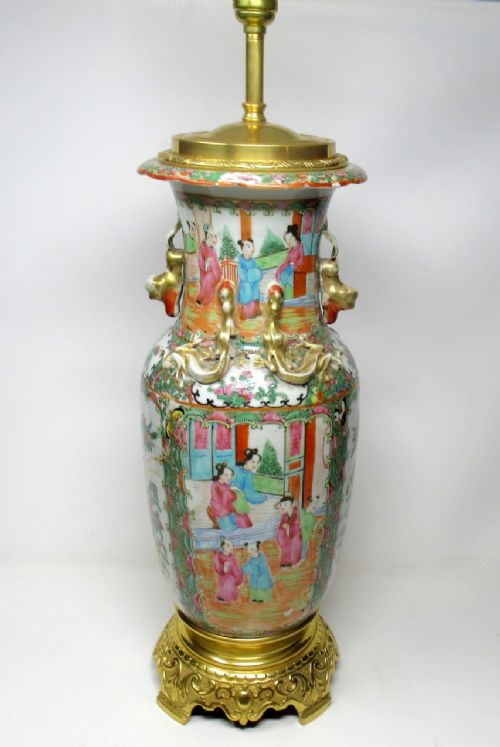 cantonese famille rose hand painted table lamp ormolu mounted 19thct