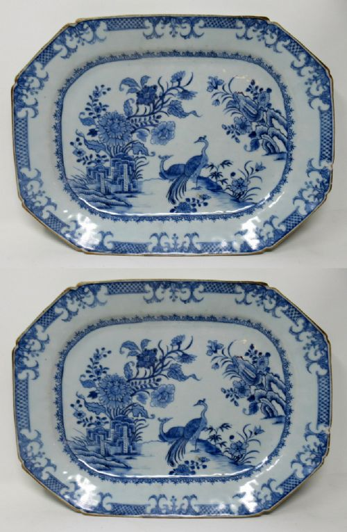 pair chinese canton porcelain blue white plates chargers qianlong 18th century