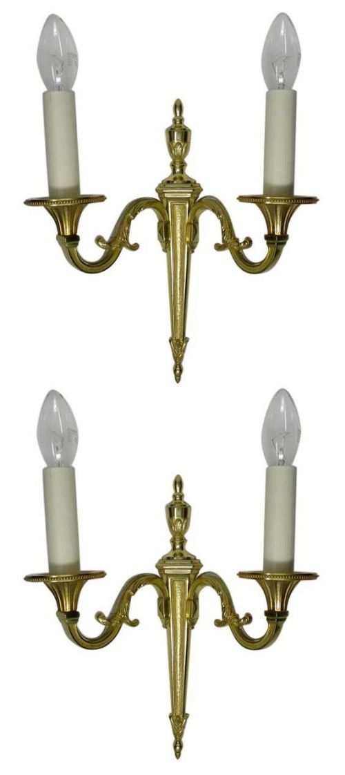 antique pair of english gilt bronze twin light wall candle sconces 19th century