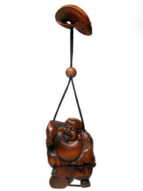 japanese carved netsuke box wood sennin buddha meiji period