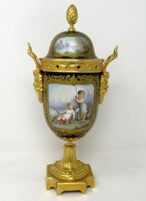 antique french svres porcelain ormolu gilt bronze urn vase potpourri cobalt