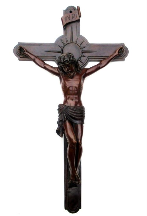 antique vintage french bronze religious holy crucifix jesus christ cross inri