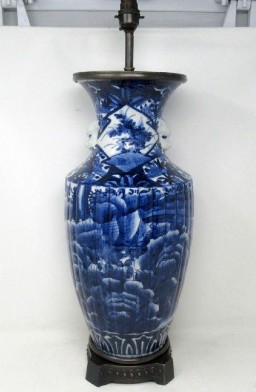 antique blue and white porcelain bronze table lamp chinese japanese european