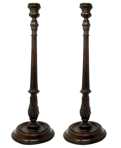 antique pair solid mahogany walnut carved treen desk candlesticks candelabra 19th century
