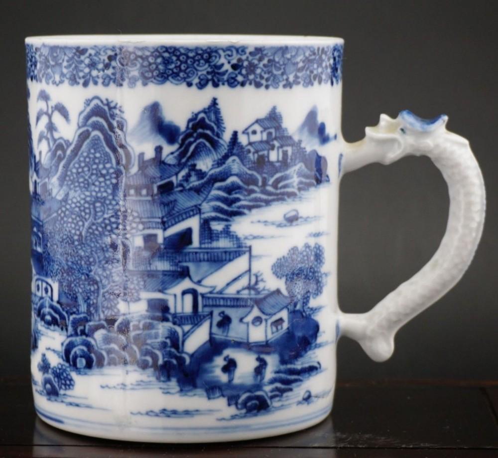 large chinese porcelain blue and white dragon tankard mug 18thct