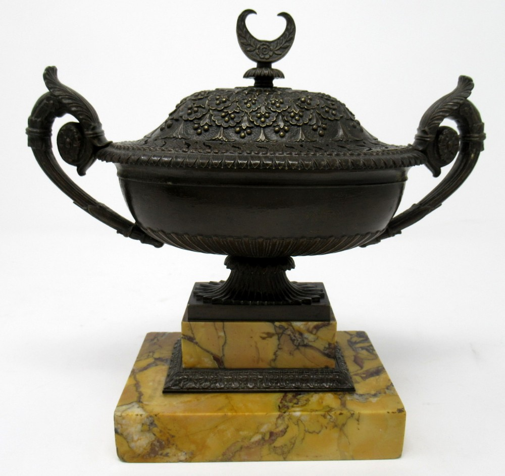 superb french bronze sienna marble grand tour urn potpourri early 19thct