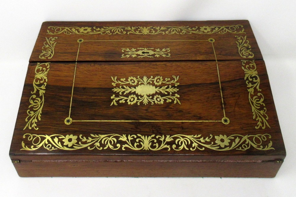 french rosewood brass inlaid writing slope early 19th ct