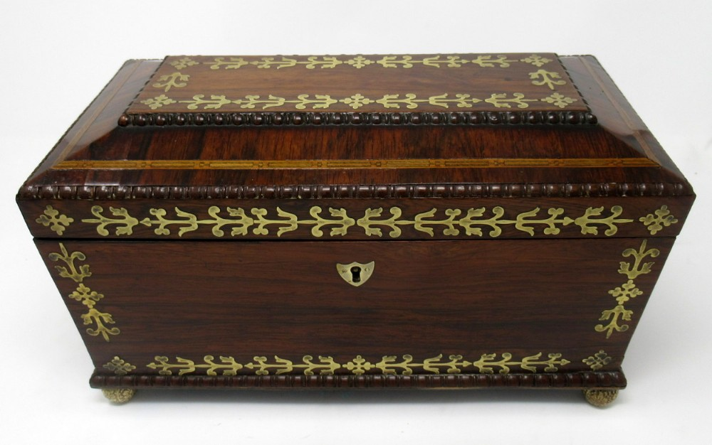 superb regency brass inlaid rosewood tea caddy early 19thct
