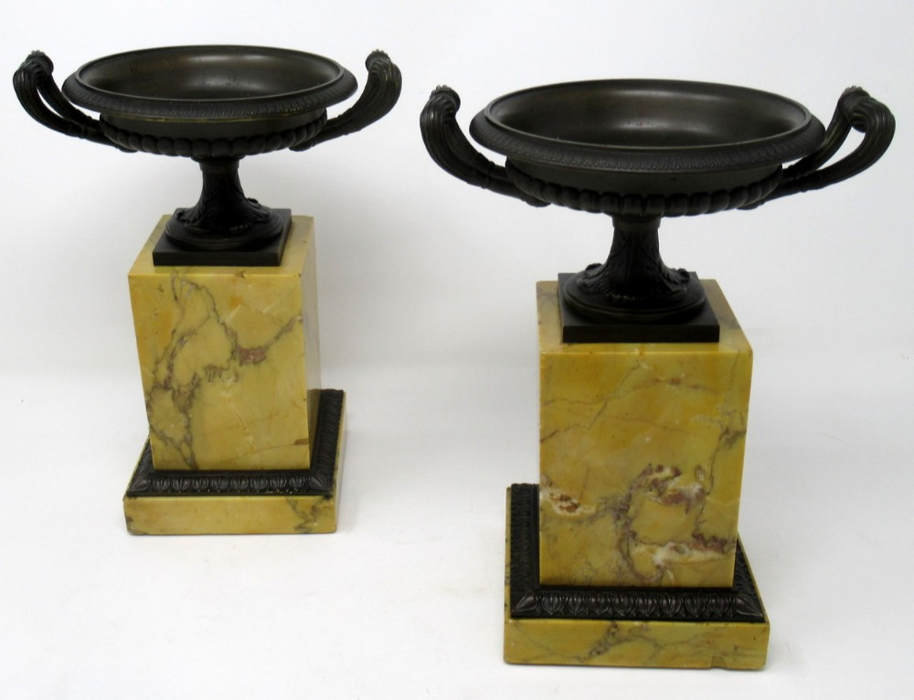 fine pair grand tour bronze sienna marble tazza urns early 19thct