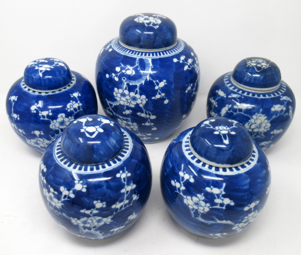 collection chinese porcelain ginger jars prunus blossoms cracked ice pattern 19thct