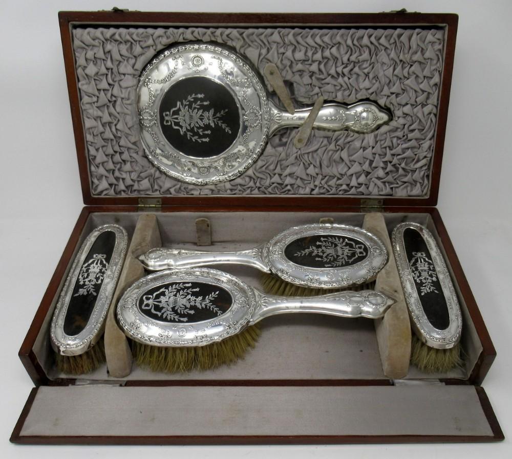 stunning silver tortoiseshell dressing table set william adams birmingham 1917