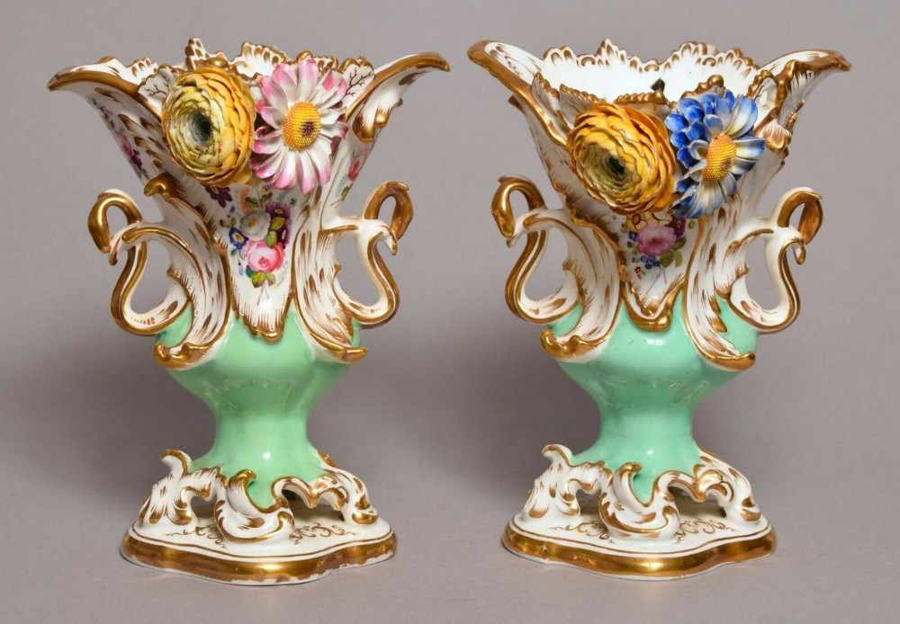 exceptional pair english coalport flower encrusted vases early 19thct