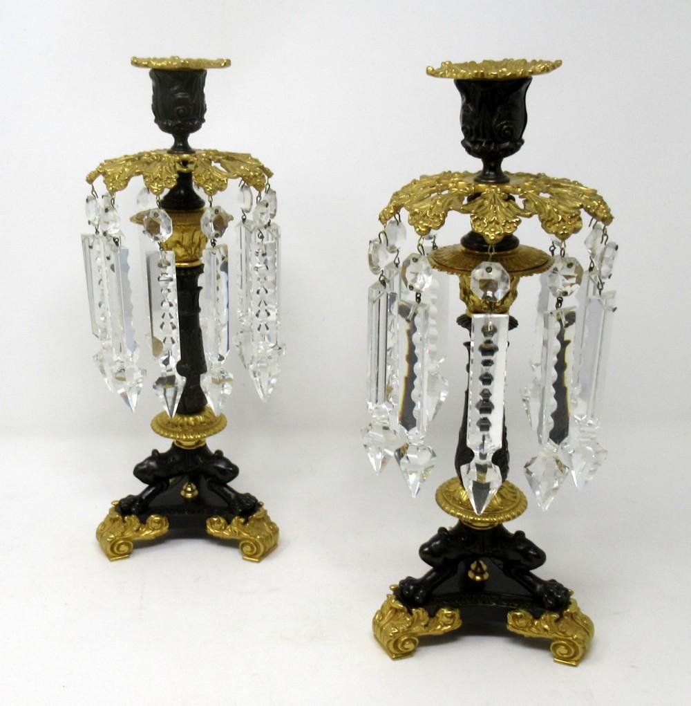 pair french victorian ormolu bronze single light candlesticks crystal lustres 19thct