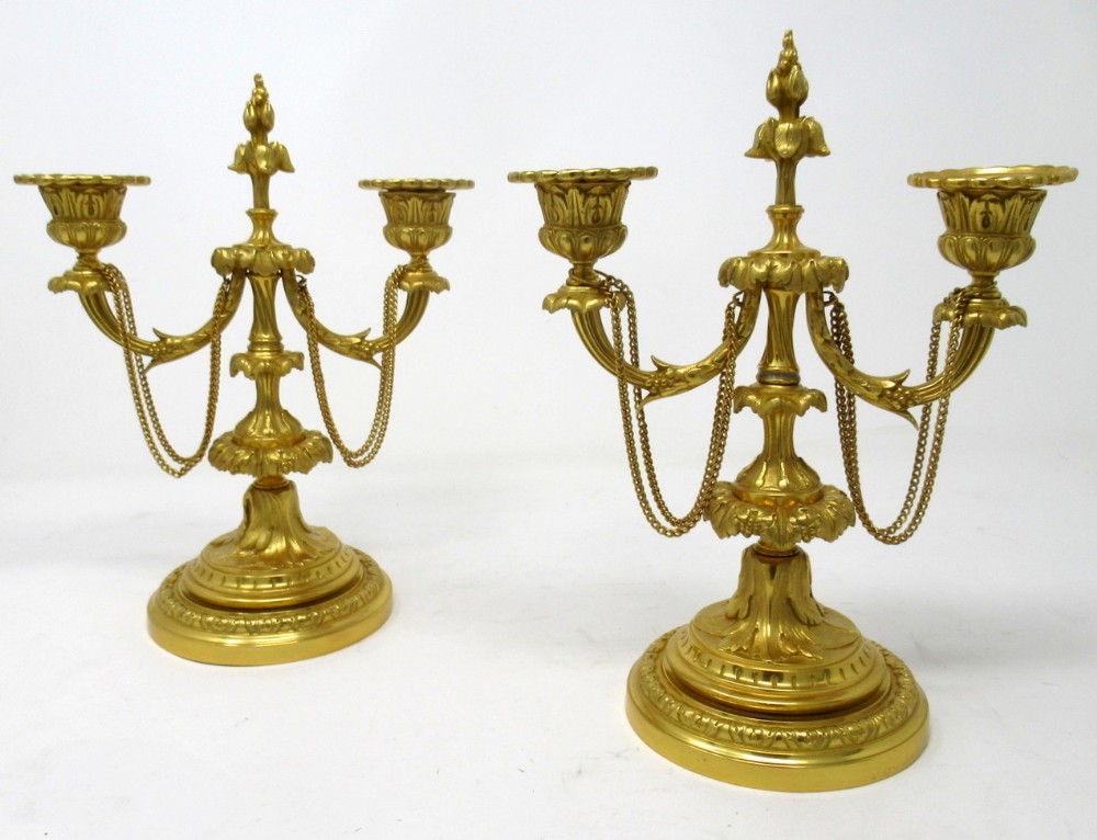 pair french regency style ormolu twin light candelabra late 19th ct
