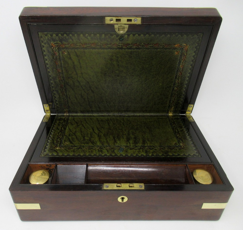 exceptional english rosewood and brass bound writing slope 19th ct