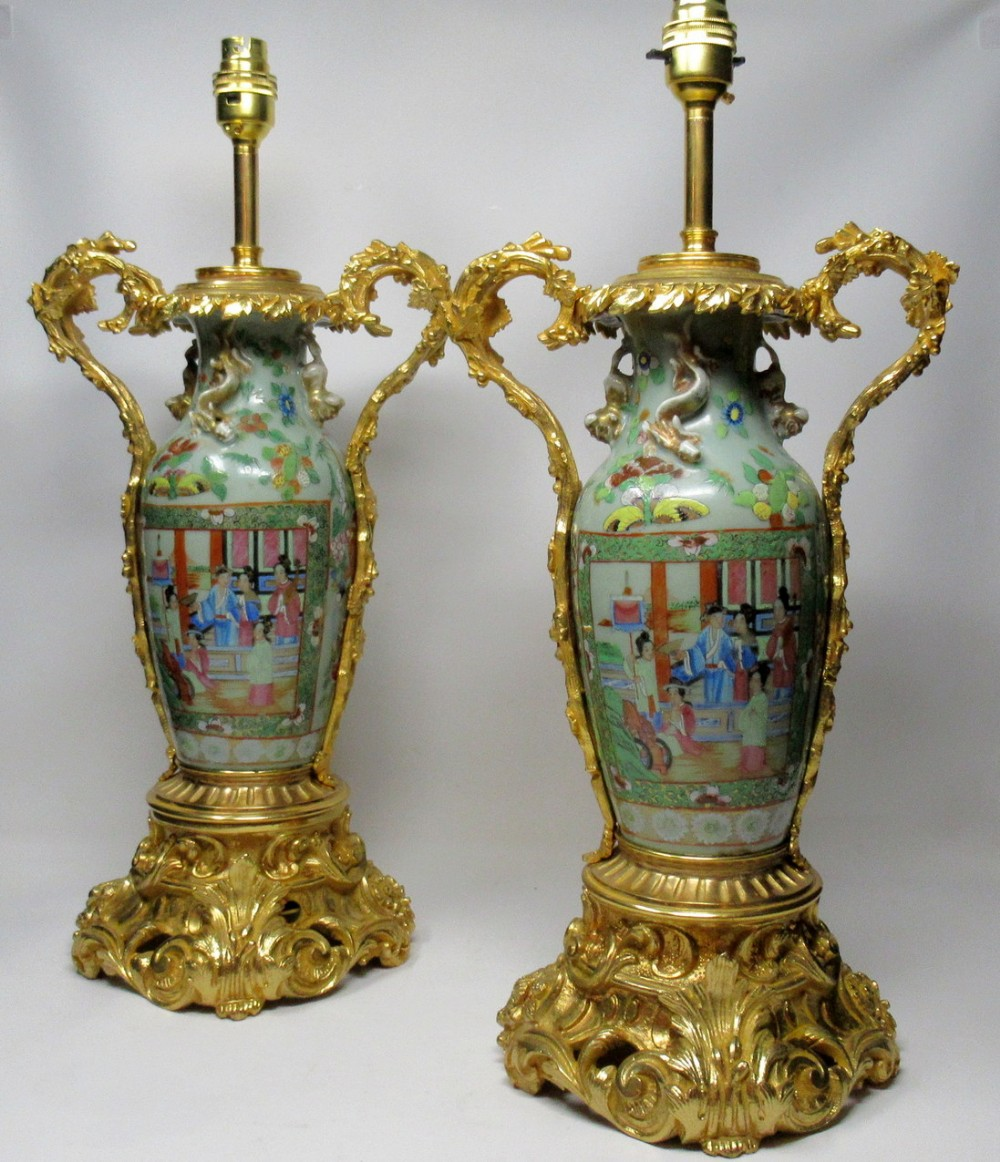 exceptional pair large cantonese chinese hand painted porcelain ormolu table lamps 19thct