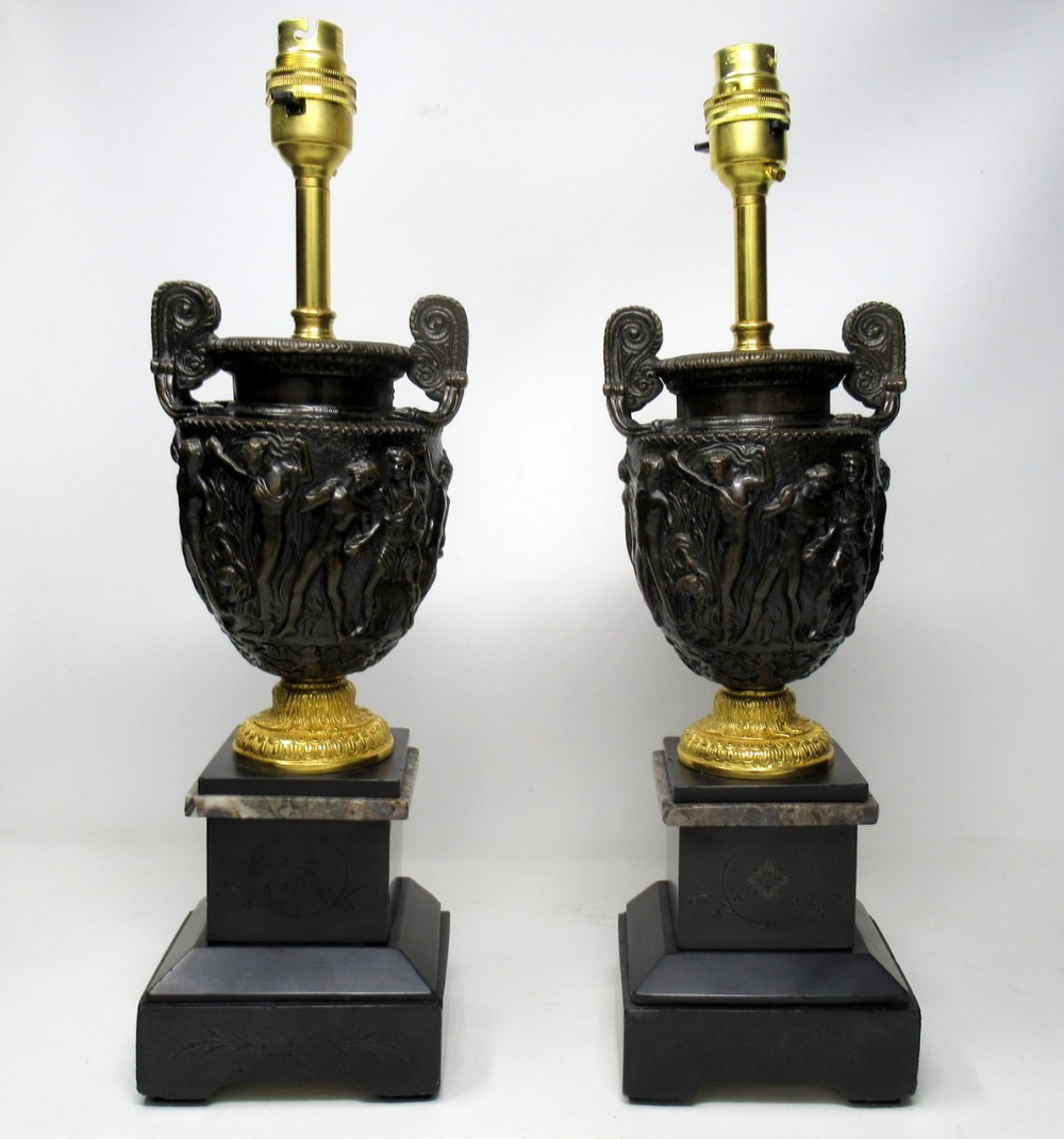 pair marble ormolu and bronze dore electric table lamps c delpech 19th century