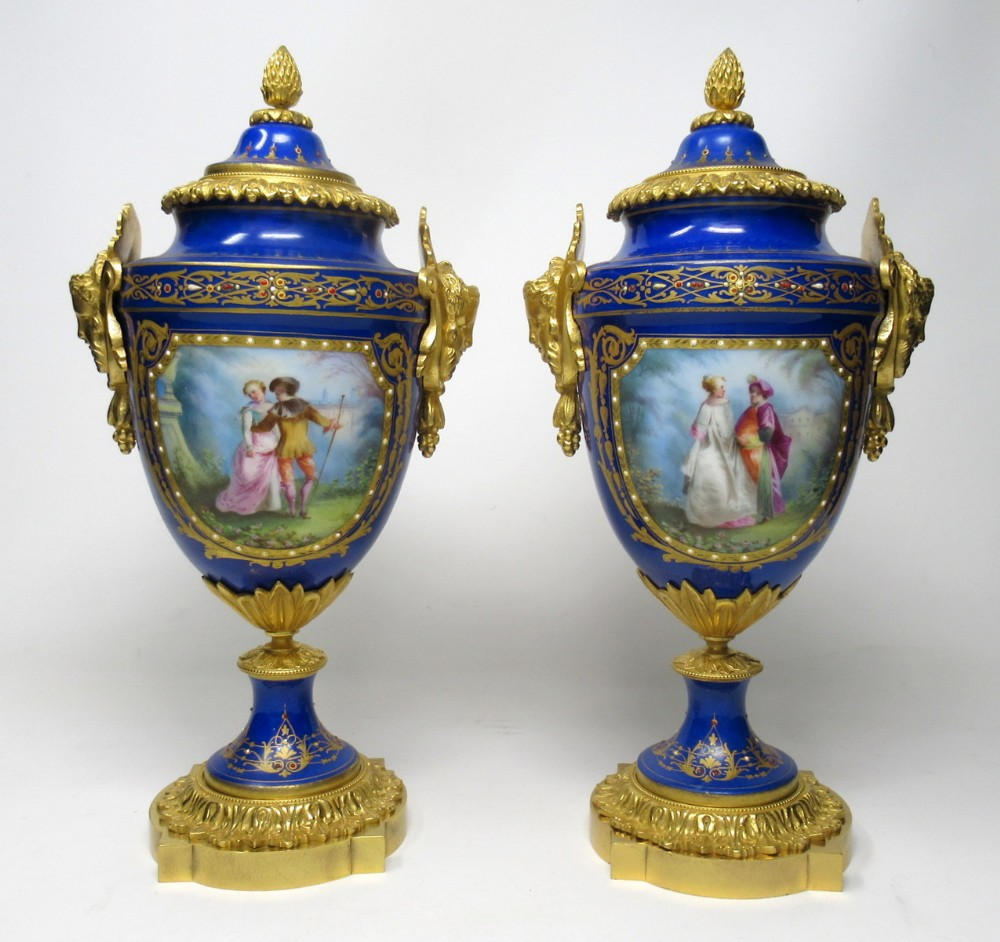 pair french sevres porcelain ormolu mounted urns exceptional quality 19thct
