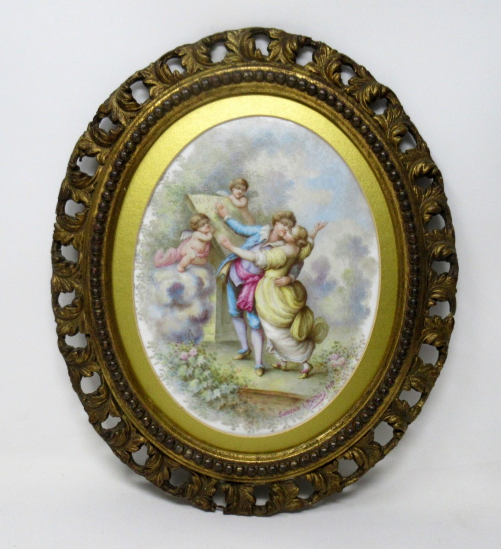 antique porcelain painted french sevres plaque by l bertren dated 1917