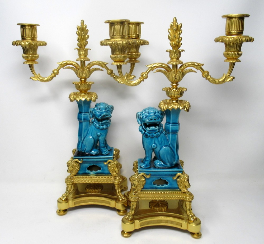 pair french ormolu chinese porcelain twin light candelabra kangxi 18th century