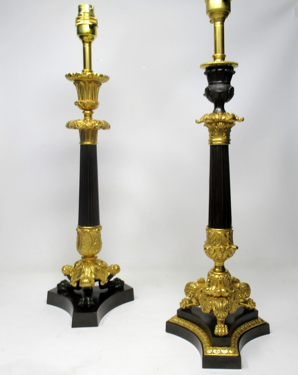 fine pair french patinated bronze and ormolu table lamps mid 19th century
