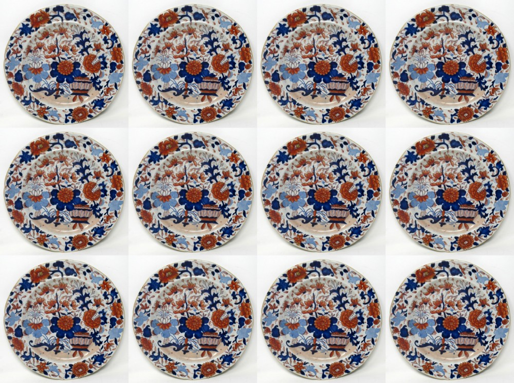 set of twelve masons ironstone china imari cabinet plates early 19th century