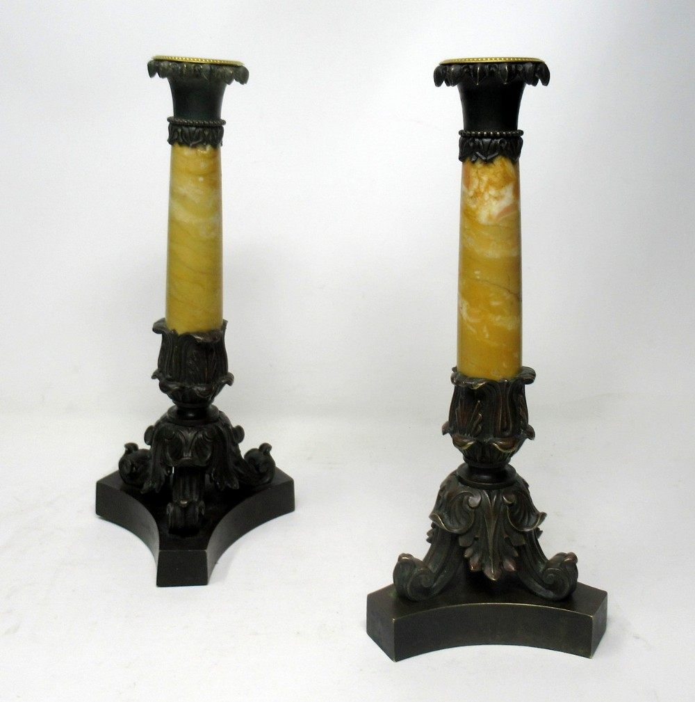 antique pair grand tour french bronze dore sienna marble ormolu candlesticks 19th century