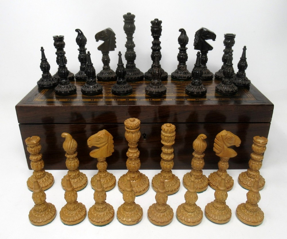 antique set jacques staunton hand carved boxwood and rosewood chess board pieces