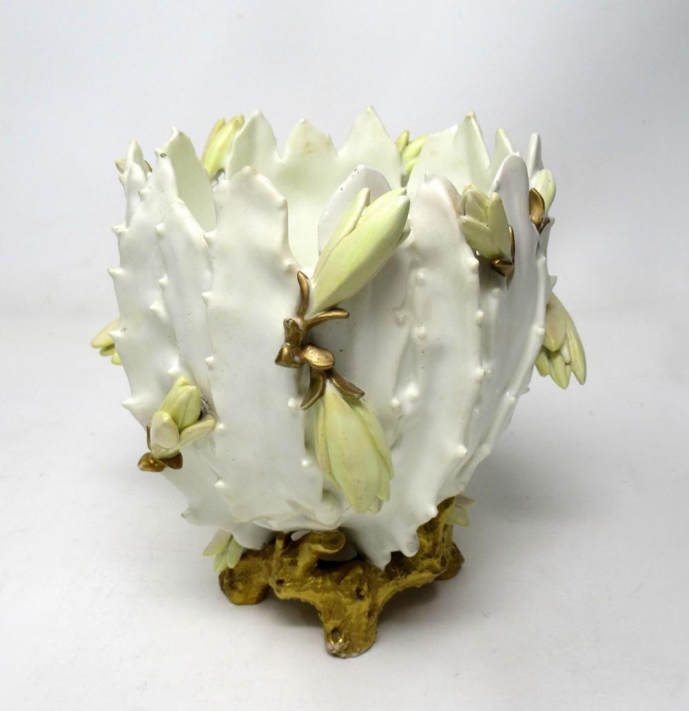 antique english moore brothers porcelain cream gilt jardiniere centerpiece 19 ct