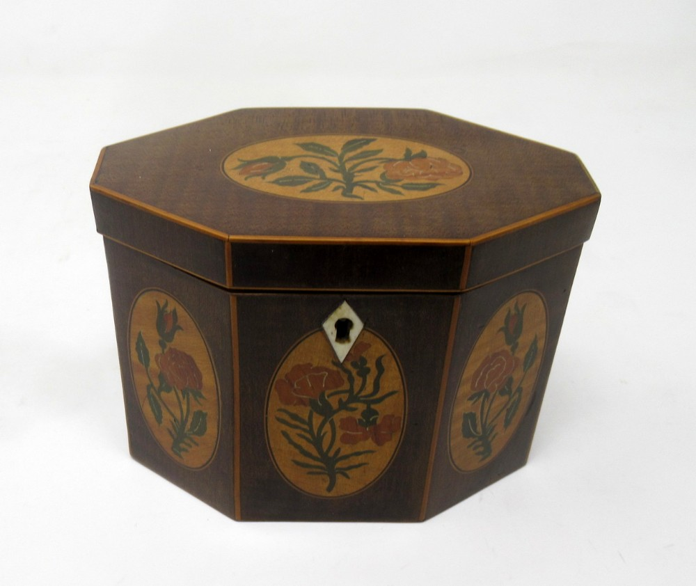 antique george iii harewood boxwood inlaid hexagonal single tea caddy 19th century